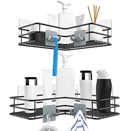 Nieifi Corner Shower Caddy Shelf Organizer Basket Rack with Hooks, Rust Proof Stainless Steel Bathroom Shelves Shampoo Holder No Drilling 2 Pack(Black)