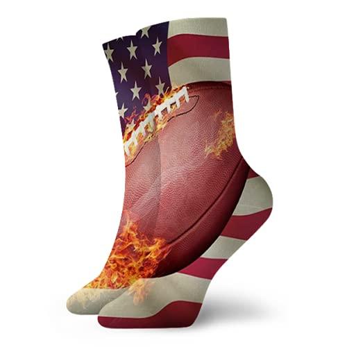 Jimbseo Calcetines de fútbol americano para mujer con diseño de balón atlético