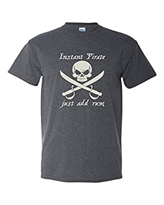 Thread Science Instant Pirate Rum Skull Bones Caribbean Cruise Drinking Funny Adult Men's T-Shirt Heather Black