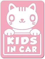 imoninn KIDS in car ステッカー 【マグネットタイプ】 No.24 ねこさん (ピンク色)