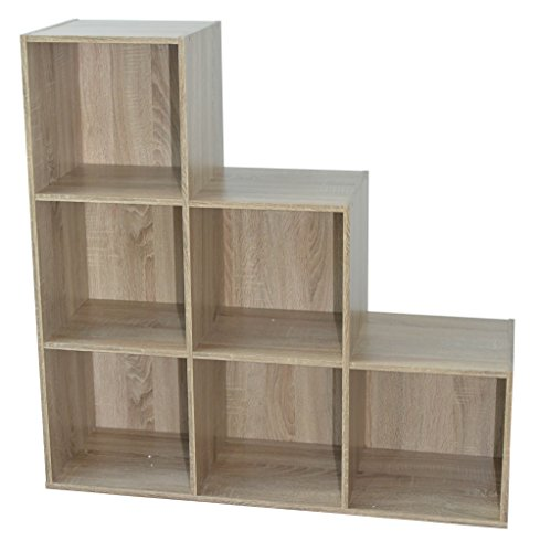 Alsapan Compo Meuble de Rangement 6 Casiers en Escalier Bibliothèque Etagères Cubes Chêne 93 x 30 x 94 cm