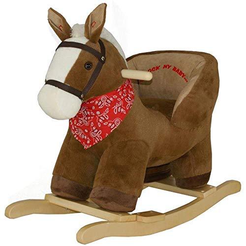 BAKAJI Cavallo a Dondolo Cavalluccio Cavalcabile Peluche Giocattolo per Bambini con Effetti Sonori Maniglie di Sicurezza