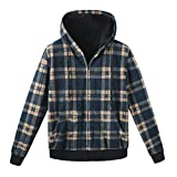 ZENTHACE Men's Thicken Sherpa Lined Checkered Flannel Hoodie Shirt Jacket Blue S