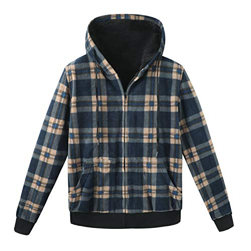 ZENTHACE Men's Thicken Sherpa Lined Checkered Flannel Hoodie Shirt Jacket Blue XL