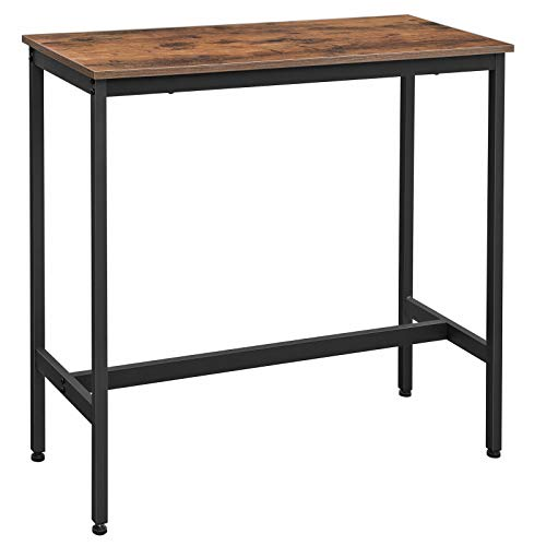VASAGLE Bar Table, Narrow Rectangular Bar Table, Kitchen Table, Pub Dining High Table, Sturdy Metal Frame, 100 x 40 x 90 cm, Easy Assembly, Industrial Design, Rustic Brown and Black LBT10X