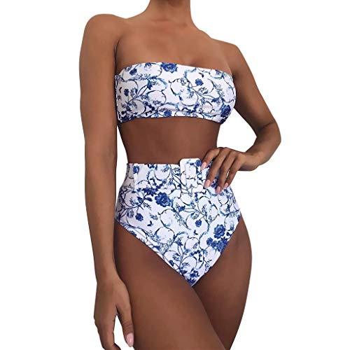 Trägerlose Bikini Set Damen Neon Bandeau Bikinis High Waist Bequeme Größen Bauchweg Bademode Leo Bikini Zweiteilig Badeanzug Sportlich Ausgefallene Strandbikinis Beachwear