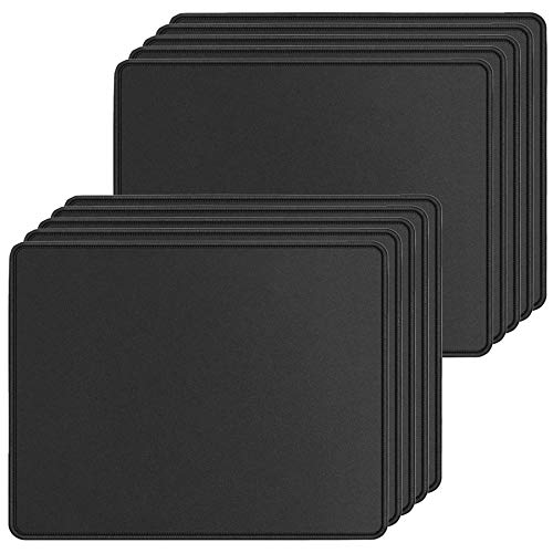 10 Pack Mouse Pad with Stitched Edges Mousepads Bulk Non-Slip Rubber Base, Waterproof Coating Mouse Pads for Computers, Laptop, Office & Home -(250mm x 210mm x 2mm) - Black Border