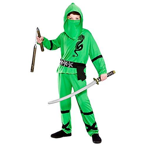 Wicked Costumes - Disfraz de Boys Power Ninja Tortuga Ninja Para Niño, Color Verde y Negro, Talla Xl 146-158 Cm
