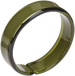 Olive Green Resin Bangle with Expandable Opening