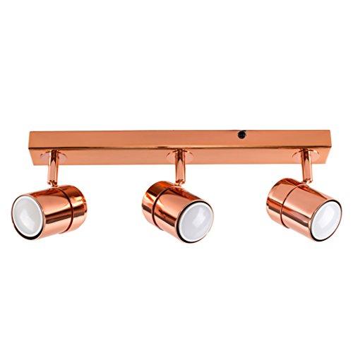 MiniSun – Moderna Lámpara de Techo – Barra de 3 Focos Orientables – Color Cobre Pulido - Iluminación Interior