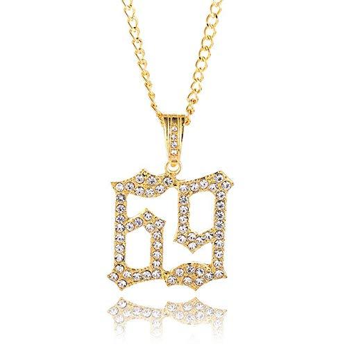 Urbanice Collana ciondolo 69 diamanti 6ix9ine (Trap) e placcato Oro, colore: oro, cod. 1