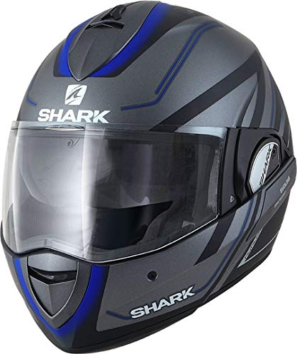 Shark EVOLINE 3 HYRIUM MAT AKB, casco da moto, colore: antracite/blu, L