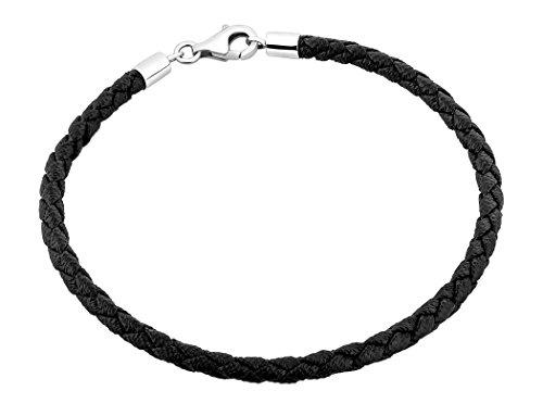Nenalina Damen-Armband Beadarmband aus Kunstleder in schwarz, mit Karabinerverschluss in 925 Sterling Silber, Länge 19 cm, 803022-019