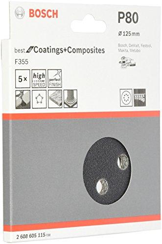 Bosch Professional Schleifblatt für Exzenterschleifer Lack und Kunststoff (5 Stück, Ø 125 mm, Körnung 80, F355)