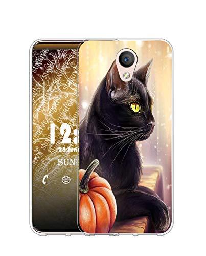 Sunrive Kompatibel mit Meizu M5 Hülle Silikon, Transparent Handyhülle Schutzhülle Etui Hülle (Q Katze 1)+Gratis Universal Eingabestift MEHRWEG