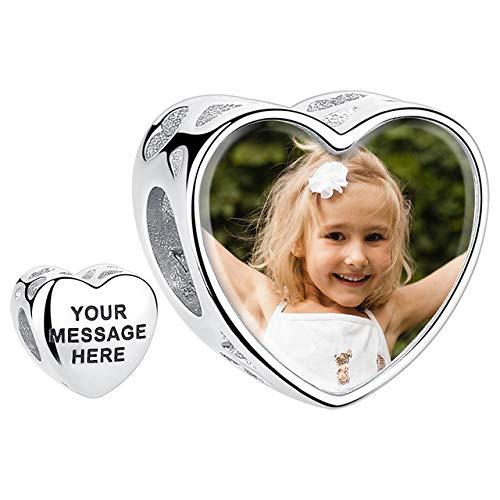 Lovejewellery Charm/Pulsera de Foto Personalizsdos Plata de Ley Abalorio para Pulsera o Collar en...