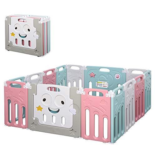 HOMCOM Parque Infantil Plegable 14 Paneles Centro de Actividades para Bebé de +6 Meses con Puerta Juguetes Divertidos Interior y Exterior 149x155x64 cm Multicolor