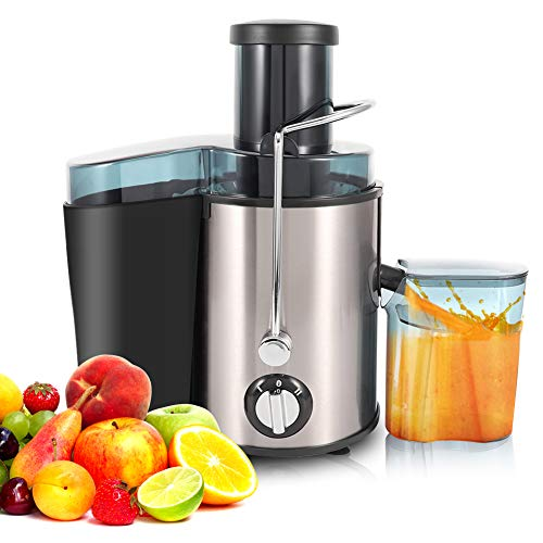 Juicer Machine 500ML Capacity Fruit Veg & Citrus Centrifugal Electric Extractor 304 Stainless Steel 400W 75mm Large Diameter Feeding Tube with A Professional Cleaning Brush for Fruits and Vegetables