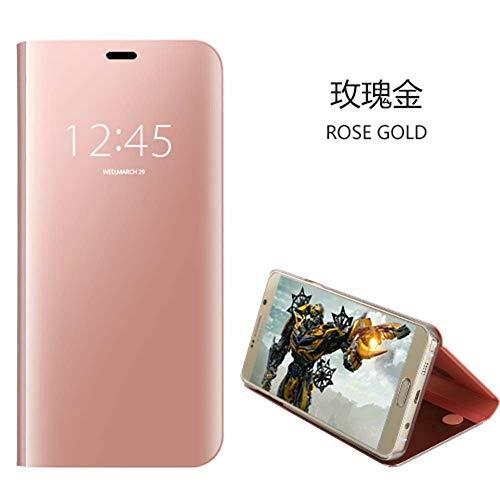 Funda Xiaomi Redmi Go,Clear View Cover Funda Flip Carcasa para Smartphone Case Silicona TPU de Teléfono + [Protector de Pantalla de Vidrio Templado] Xiaomi Redmi Go-Rose Oro