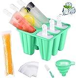 Moldes para helados con mango de silicona, 6 celdas, sin BPA, para niños, adultos y bebés, juego de moldes con cepillo de limpieza y embudo plegable (verde)