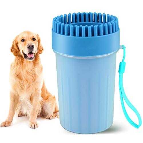 Beinhome Haustier Pfoten Reiniger, Hunde Pfotenreiniger Dog Paw Cleaner Tragbarer Hundepfoten Reiniger Hundezubehör für große und Normale Hunde,Pfotenreiniger aus Silikon (Blau)
