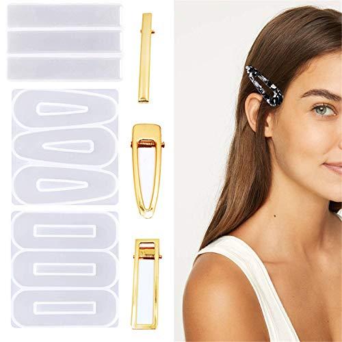 3pcs Hair Clips Silikonform mit 30pcs Golden Haar Clips Zubehör, Haarclips Gießform für DIY Herstellung Haarspange Gold Haare Clip Schmuck Handwerk Resin Mold