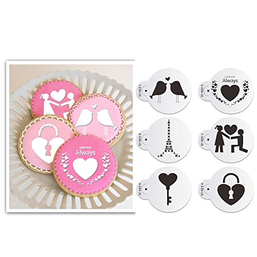 Art Kitchenware - Juego de 6 plantillas para decoración de tartas de galletas, para bodas y San Valentín, Semitransparente, 2.76 inches