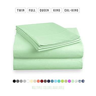 Luxe Bedding Sets - Queen Sheets 4 Piece, Flat Bed Sheets, Deep Pocket Fitted Sheet, Pillow Cases, Queen Sheet Set - Mint