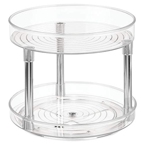 "mDesign 2 Tier Lazy Susan Turntable Food Storage Container for Cabinets, Pantry, Fridge, Countertops - Spinning Organizer for Spices, Condiments - 9"" Round, 2 Pack - Clear/Chrome"