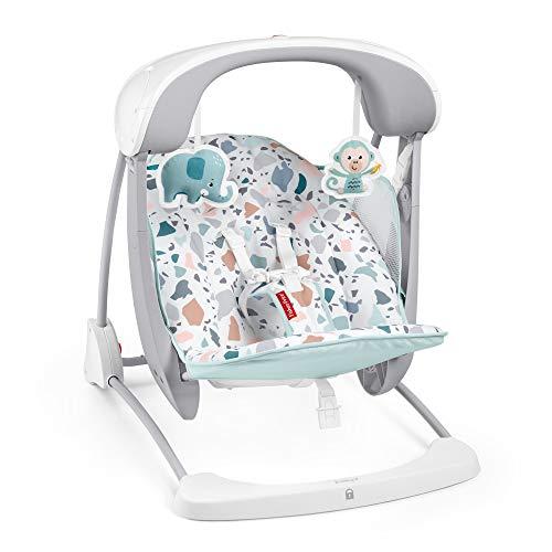 Fisher-Price Terrazzo Take Along Swing & Seat Hamaca Portátil Deluxe Plegable con Sonidos Y Vibraciones para Bebés 9Kg (Mattel Gpd12), 1 Unidad (Paquete de 1)