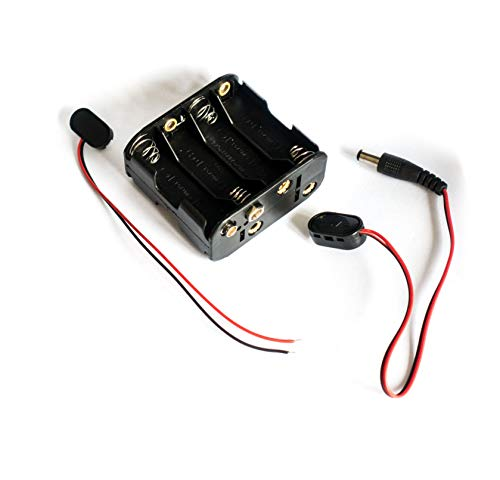 12 volt power 8 x AA battery holder case with 2.1mm x 5.5mm DC Plug and bare wire end connectors 12V | for CCTV, DIY, Arduinos, motors, solenoids, LED strips (8AA)