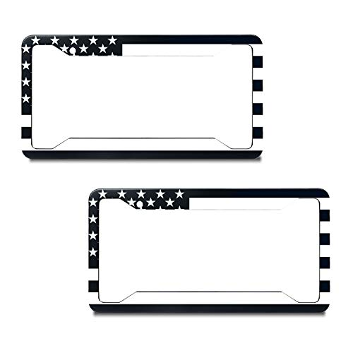 EXMENI 2 PCS Black American Flag License Plate Frame American Flag Car Tag Frame US License Plate Holder United States Flag License Plate Cover 4 Holes and Screws