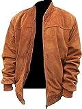 HiFacon - Giacca da uomo in pelle scamosciata, stile motociclista Racer Cafe Racer, stile retrò, vintage, motociclista, Marrone - Giacca in camoscio, S