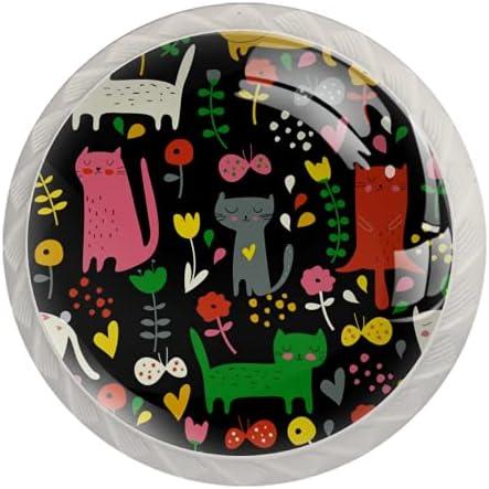Lade handgrepen kabinetknoppen knoppen rond pak van 4 voor kast lade borst dressoir etcdierlijke kat bloem vlinder