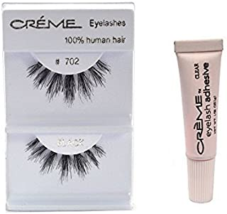 6 Pairs Crème 100% Human Hair Natural False Eyelash Extensions #702 ,Free Gift by Crème