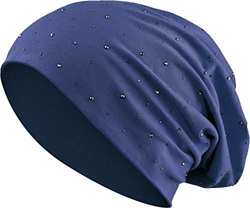 Jersey Baumwolle elastisches Long Slouch Beanie Unisex Herren Damen mit Strass Stern Steinen Mütze Heather in 35 (7) (Dark Blue)