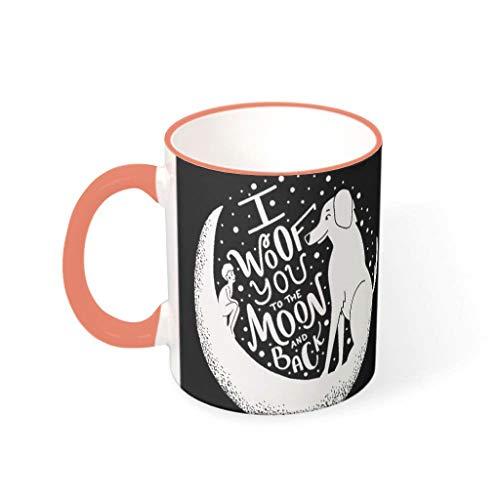 Divertida taza de café de cerámica negra y blanca, niños y lobo, diseño de la amistad, de arte con impresión clásica, color blanco, taza de té de cerveza, regalo para familia y amigos, 330 ml