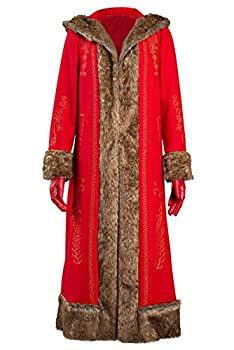 FANTASYY Women The Christmas Chronicles Mrs Santa Claus Long Coat Outfit Cosplay Cloak Costume with Gloves Red