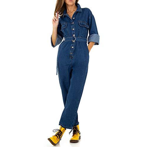 Ital Design Jumpsuit Destroyed Jeans Overall Für Damen, Blau In Gr. M