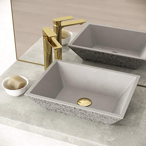 VIGO VG04053 13.75' -18.0' W -4.63' H Calendula Handmade Concrete Square Vessel Bathroom Sink in Ash Gray Finish