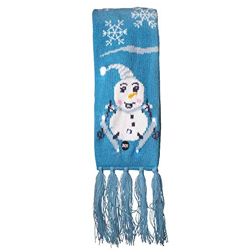 LED Light Up Holiday Scarf for Ugly Christmas Sweater Party (Snowman)