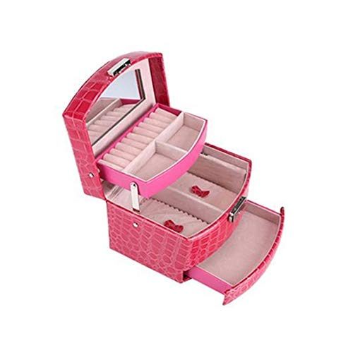 XMCHE La Nueva joyería Organizador Pantalla de Viajes joyería Cajas Caso Portable de la joyería Caja de Cuero con Cremallera de Almacenamiento (Color : Rose)