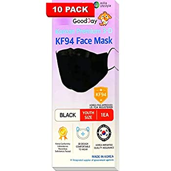 [Pack Of 10] GOODDAY ENGLISH BLACK SMALL Certified KF94 Korean Face Mask Disposable Comfortable YOUTH Face Mask Age 9-15 Small Size By Happy Life