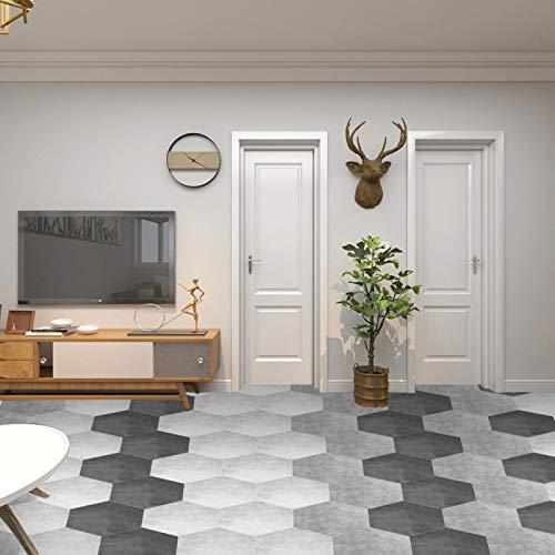 Adesivo per piastrelle, adesivo da pavimento impermeabile 10 pezzi, adesivi murali, cucina esagonale in PVC per bagno