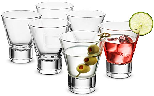 Bormioli Rocco 6-Pack YPSILON Cocktail Glasses set - 8.5 Ounce, Bar Glass, Stemless Martini Glasses for All Alcoholic Beverages like Margarita, Manhattans, Bourbon, Vodka, Gin, Lead-Free Whiskey Glass