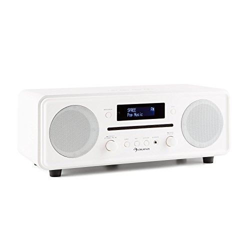 auna Melodia Digitalradio DAB+ / UKW Radiotuner Radiowecker (Radio, 20 Senderspeicher, MP3-fähiger CD-Player, Bluetooth, AUX, Dual Alarm & Snooze, LCD Display, Fernbedienung) antikweiß