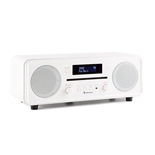 auna Melodia digitale radio DAB + / FM-radiotuner wekkerradio (radio, 20 stationsgeheugen, mp3-compatibele cd-speler, Bluetooth, AUX, dubbel alarm & snooze, LCD-display, afstandsbediening) wit