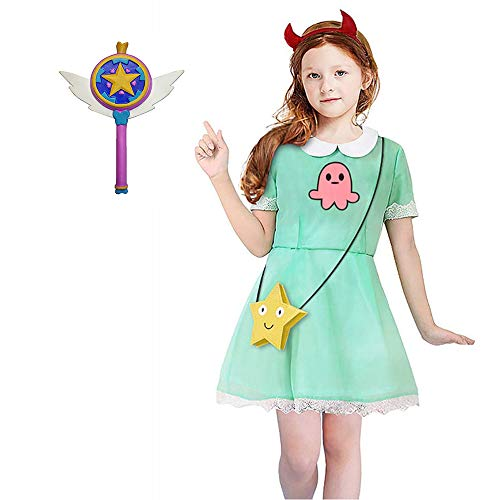 Tanwenling33 Donna Star Butterfly Cosplay Costume Abito Vestito Bacchetta Magica Borsa Star per Donne Ragazze