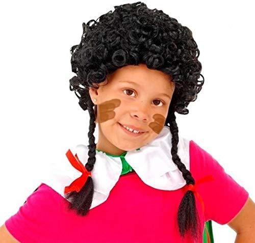 Pruik - Zwart - Zwarte Piet - Met vlechtjes - Kindermaat