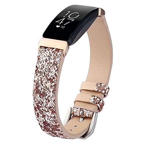 ZLYZS Correa De Reloj Brillantes Compatible con Fitbit Inspire/Inspire HR, Brillantes Banda De Repuesto Bandas De Cuero para Mujer Pulsera Clásicas Strap Deportivas Compatible con Inspire HR,Rosado